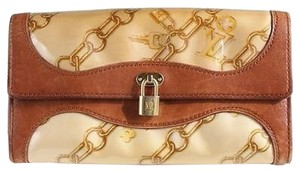 Louis Vuitton chain blanc velvet silk wallet clutch cards coin purse padlock