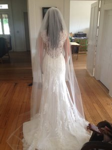Beautiful Chapel Length Ivory Veil With Slight Shimmer
