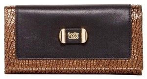 See by Chloé Mina Flat Flap Trifold Wallet Leather Bronze Croc Embossed Trim