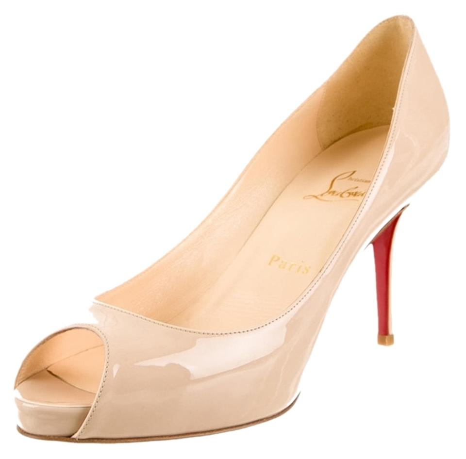 premium selection 4b0a3 2651c Christian Louboutin Beige Nude Patent Leather Mater Claude 85 Peep-toe New  39 Pumps Size US 9 Regular (M, B)