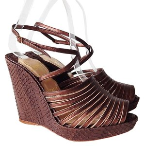 Christian Louboutin Platform Wedge Sandal Strappy Bronze Wedges