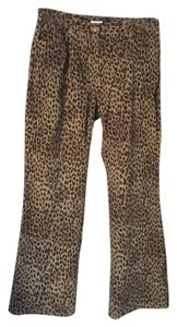 Jones New York Straight Pants brown animal print
