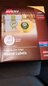 Avery White Glossy Round Labels #22807