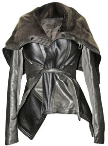 Rick Owens Leather Fur Shearling Wrap Silver Leather Jacket