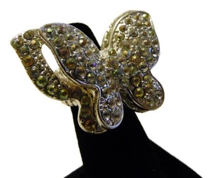 Double Butterfly Crystal Stretch Ring fits Approx. Size 8 to 10