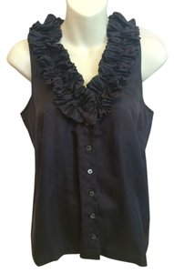 J.Crew Silk Ruffle Button Down Top Black