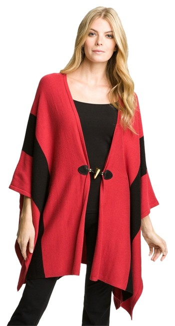 Item - Red XL Black Sweater Toggle Poncho/Cape Size OS (one size)