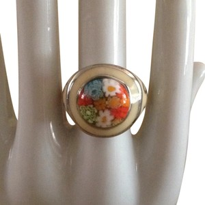 Enamel & art glass ring