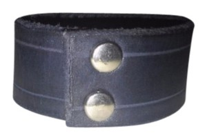 Hot Topic Black Leather Bracelet, Wrist Band snap closure, womens small