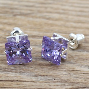 Stunning Purple Sterling Plated Stud Earrings Free Shipping