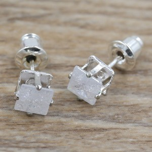 White Ice Sterling Plated Stud Earrings Free Shipping