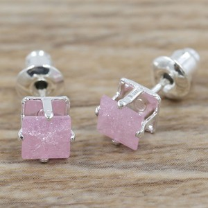 Soft Pink Cz Sterling Plated Earrings Free Shipping