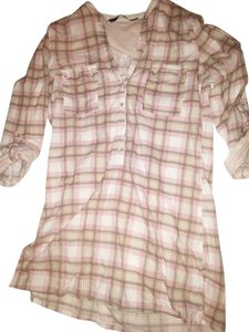 Zara Plaid Shirt Size Medium Cotton Long Sleeve Shirt Dress Button Down Shirt Pink