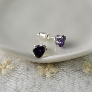 Heart Cut Amethyst Sterling Plated Stud Earrings Free Shipping