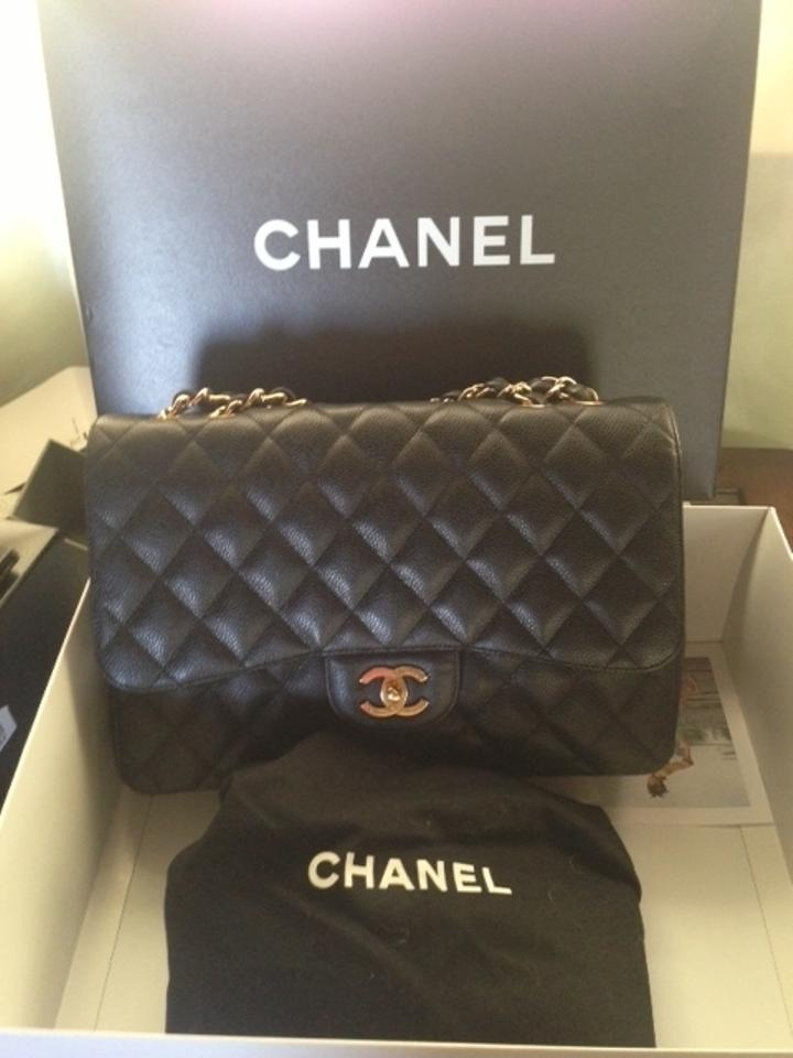 7d2d5c34c7a149 Chanel Jumbo Caviar Gold Hardware Single Flap Great Price Black Leather  Shoulder Bag