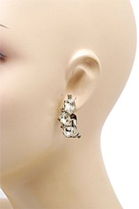 "Albert Weiss WEISS VINTAGE Silver tone RHINESTONE Large Stones Clip Earrings-1.5""x .25"""
