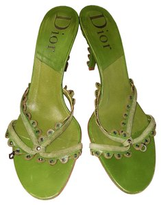 Dior High Heel Leather Made In Italy Sandals Strappy Green Mules