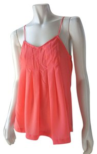 Japna Tank Cami Pleated Loose Top Coral Pink
