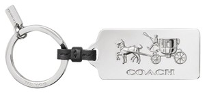 Coach HORSE AND CARRIAGE METAL SILVER HANGTAG KEY RING CHAIN GIFT BOX