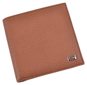 Gucci New Gucci 150405 Saddle Tan Textured Leather G Logo Plaque Coin Bifold Wallet