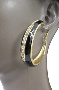 Women Fashion Hoop Gold Metal Earrings Set Rhinestones Stripe Black Color Rhinestones