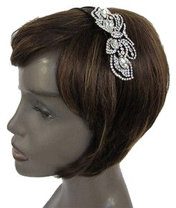 Women Fashion Headband Long Butterfly Charm Silver Rhinestones and Beads