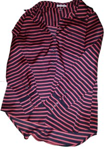 Dalia Striped Satin Henley Button Top Red, Black