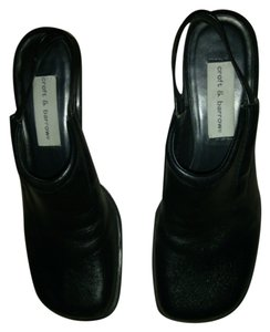 Croft & Barrow And And Heels Leather Chunky Heels Black Prepster Quality Designer black leather Mules