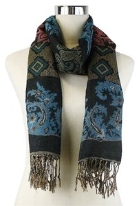 Multicolor Blue and Brown Paisley Print Fringe Cozy Pashmina Scarf Wrap
