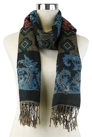 Other Multicolor Blue & Brown Paisley Print Fringe Pashmina Silk Scarf Wrap