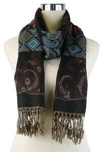 Other Multicolor Brown Paisley Print Fringe Pashmina Silk Scarf Wrap