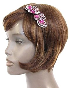 Other Women Fashion Headband Long Butterfly Charm Pink Rhinestones and Beads