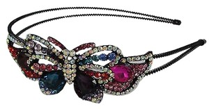 Women Fashion Headband Long Butterfly Charm Multicolors Rhinestones and Beads