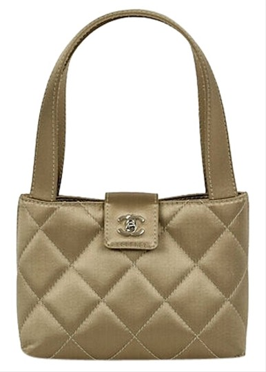 Chanel Evening Quilted Silk Vintage Tote in Metallic Beige