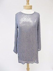 Haute Hippie short dress Gray Sheer Silk Sequin Long Sleeve on Tradesy