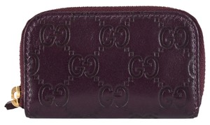Gucci NEW Gucci 324801 Purple Leather GG Guccissima Mini Zip Around Coin Purse