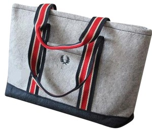 Fred Perry Shopping Canvas Wool Logo Tote in Grey