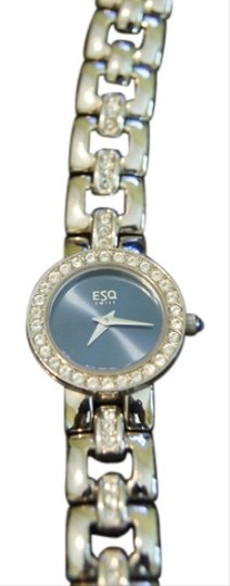 ESQ Small Round Blue Face Watch with Crystal Bezel
