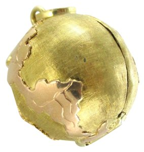 Other 18KT SOLID YELLOW GOLD PENDANT GLOBE WORLD FOLDING PICTURE FRAME INSIDE LOCKET