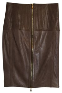 Escada Leather Pencil Skirt Brown