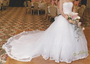 Eve of Milady White Organza Traditional Wedding Dress Size 4 (S)
