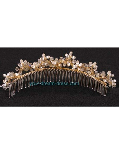 Gold with Glass Beads & Crystals On A Silver Comb Your Dream Dress Exclusive R3-4744g Headpiece Tiara