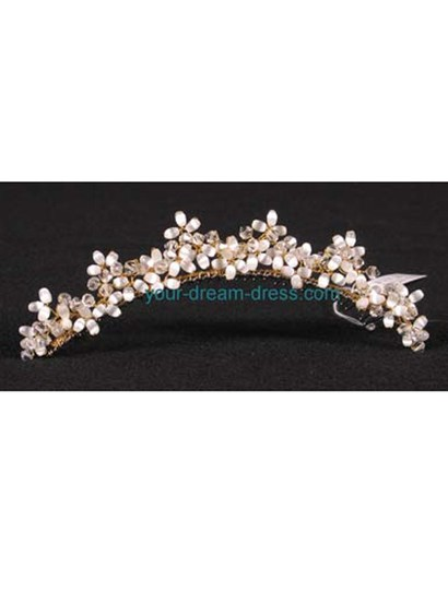 Gold with Glass Beads & Crystals On A Silver Comb Your Dream Dress Exclusive R3-4744g Headpiece Tiaras