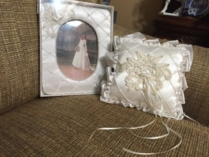 White Rig and Picture Frame Ring Bearer Pillow