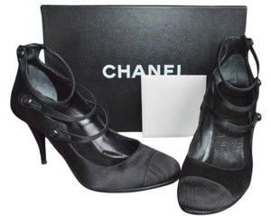Chanel Satin Size 35.5 Button Straps Black Pumps