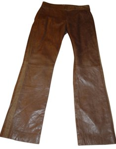 DKNY Sheepskin Glam Rocker Slacks Career Night Out Straight Pants khaki beige leather
