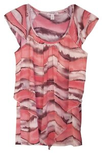 dressbarn Ruffled Cap-sleeves Top salmon pink