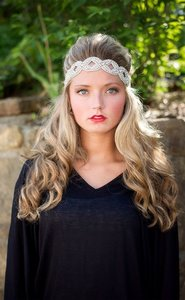 Boho Chic Flapper Or Vintage Style Jeweled Stretch Headband