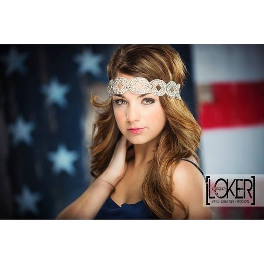 Silver Boho Chic Flapper Or Vintage Style Stretch Headband Hair Accessory