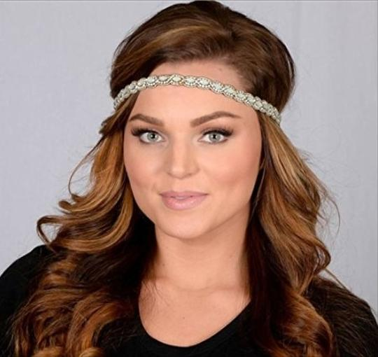 Silver / Clear / Ab Boho Chic Flapper Or Vintage Style Stretch Headband Hair Accessory